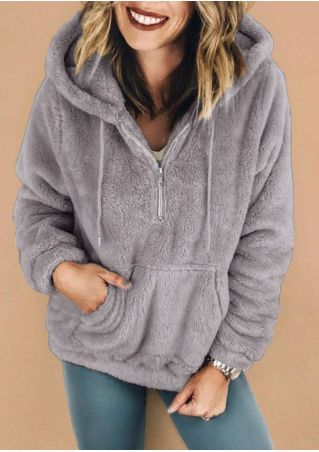 Solid Fluffy Zipper Pocket Hoodie