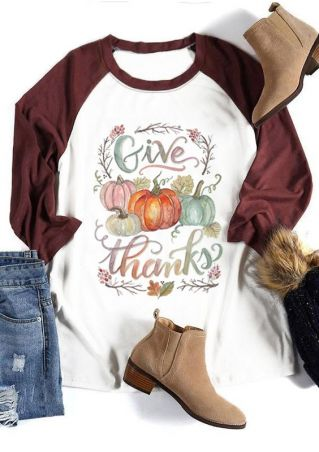 Gvie Thanks Pumpkin O-Neck Baseball T-Shirt Tee