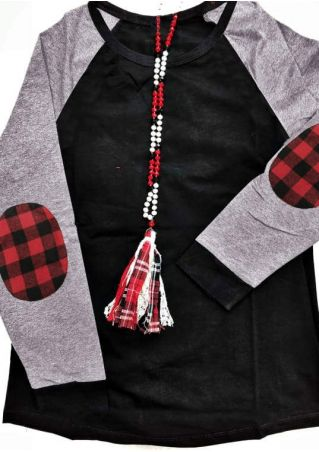 Plaid Splicing Elbow Patch Baseball T-Shirt Tee