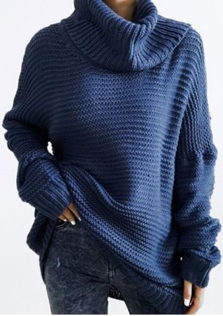 Solid Turtleneck Knitted Long Sleeve Sweater