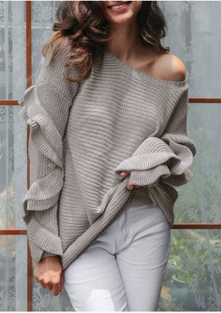 Solid Ruffled One Shoulder Knitted Sweater
