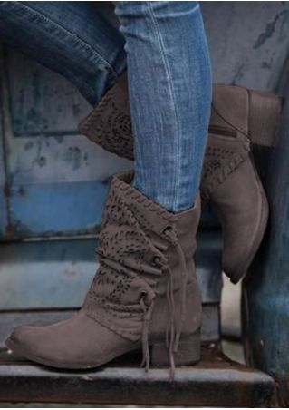 Solid Hollow Out Round Toe Boots