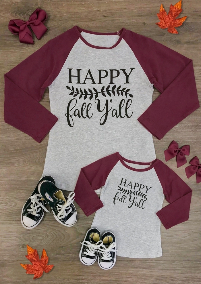 Mommy & Me Happy Fall Y'all Baseball T-Shirt Tee