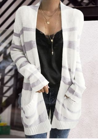 Striped Pocket Long Sleeve Cardigan without Necklace