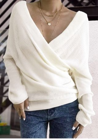 Solid Knitted Wrap Long Sleeve Sweater without Necklace