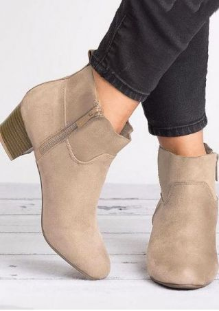 Solid Round Toe Zipper Boots