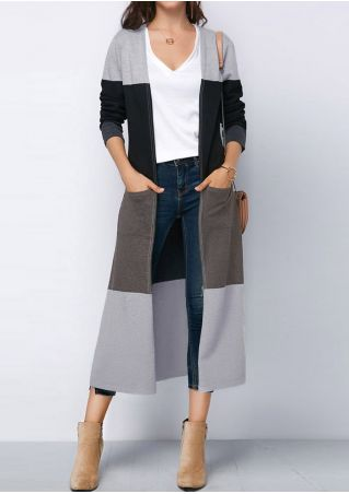 Color Block Pocket Long Sleeve Cardigan
