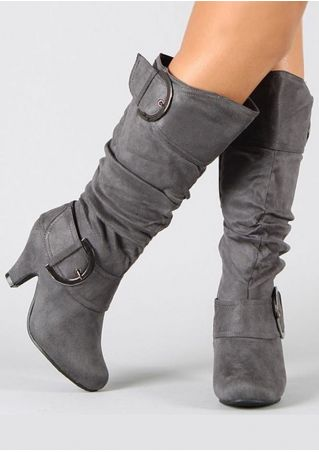 Solid Buckle Strap Fashion Boots