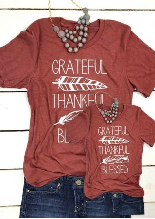 88670f93844 Mommy   Me Grateful Thankful Blessed Feather T-Shirt Tee - Fairyseason