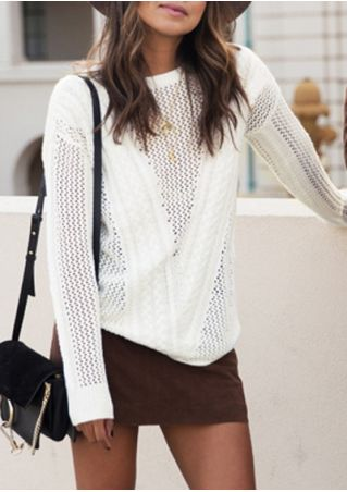 Solid Long Sleeve Sweater without Necklace