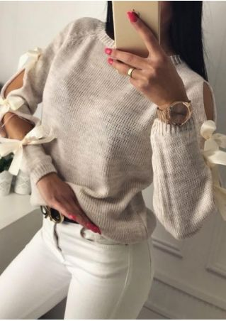 Hollow Out Bowknot Long Sleeve Sweater
