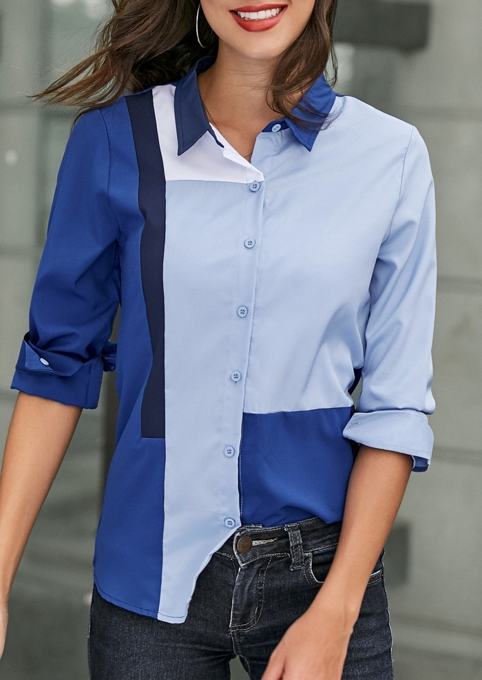 Image of Color Block Button Long Sleeve Shirt