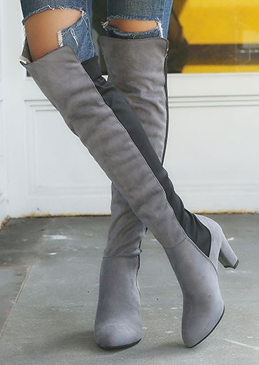 Image of Color Block Over The Knee Fashion Boots