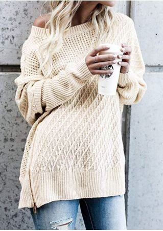 Solid One Shoulder Zipper Sweater