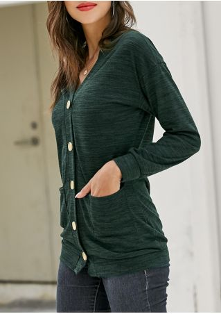 Solid Button Long Sleeve Cardigan