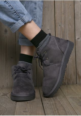 Solid Lace Up Round Toe Boots