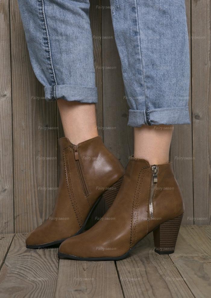 Solid Zipper Heeled Boots