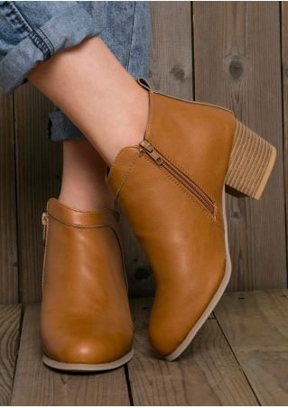 Solid Zipper Round Toe Heeled Boots