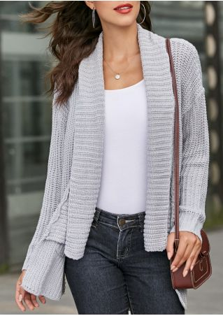 Solid Pocket Knitted Long Sleeve Cardigan without Necklace