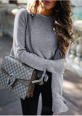 Solid Flare Sleeve Knitted Sweater