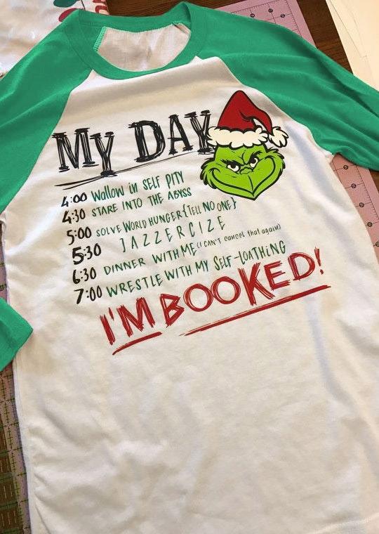 Christmas Grinch I'm Booked Baseball T-Shirt