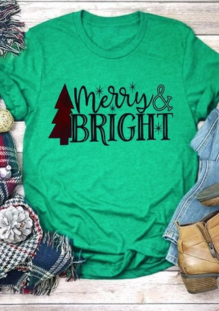 Merry & Bright Tree O-Neck T-Shirt
