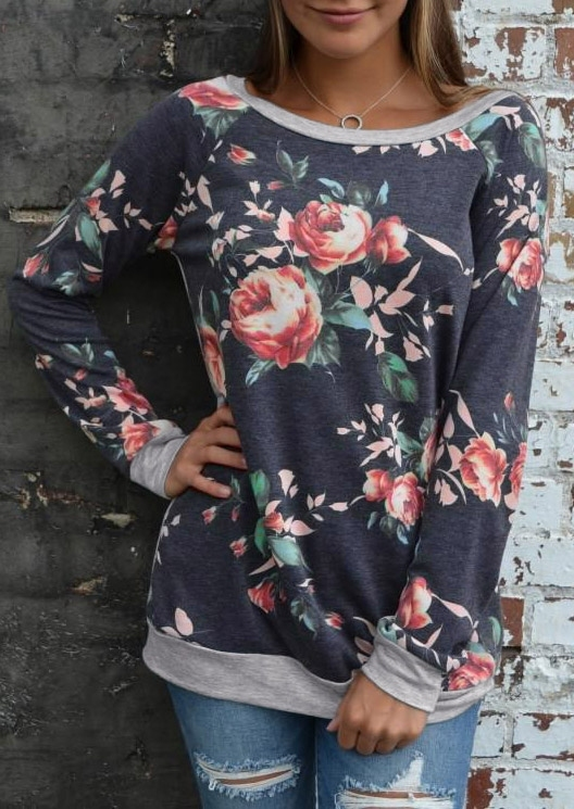 Floral Splicing O-Neck T-Shirt without Necklace