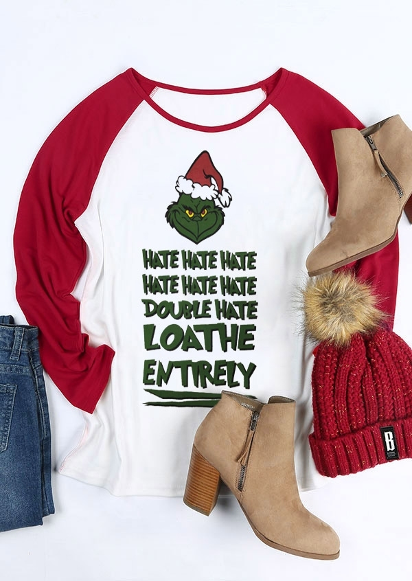 Christmas Grinch Double Hate Loathe Entirely Baseball T-Shirt Tee