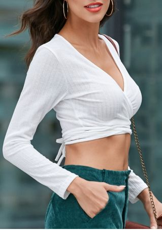 Solid Deep V-Neck Wrap Crop Top