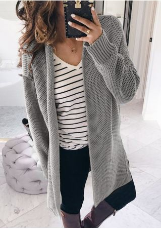 Solid Knitted Long Sleeve Cardigan