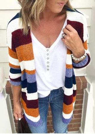 Striped Long Sleeve Knitted Cardigan