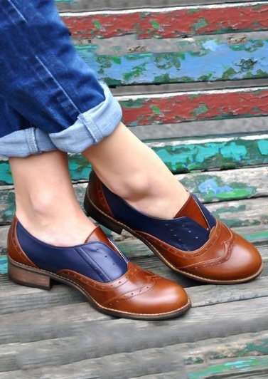 Image of Color Block Round Toe Flats