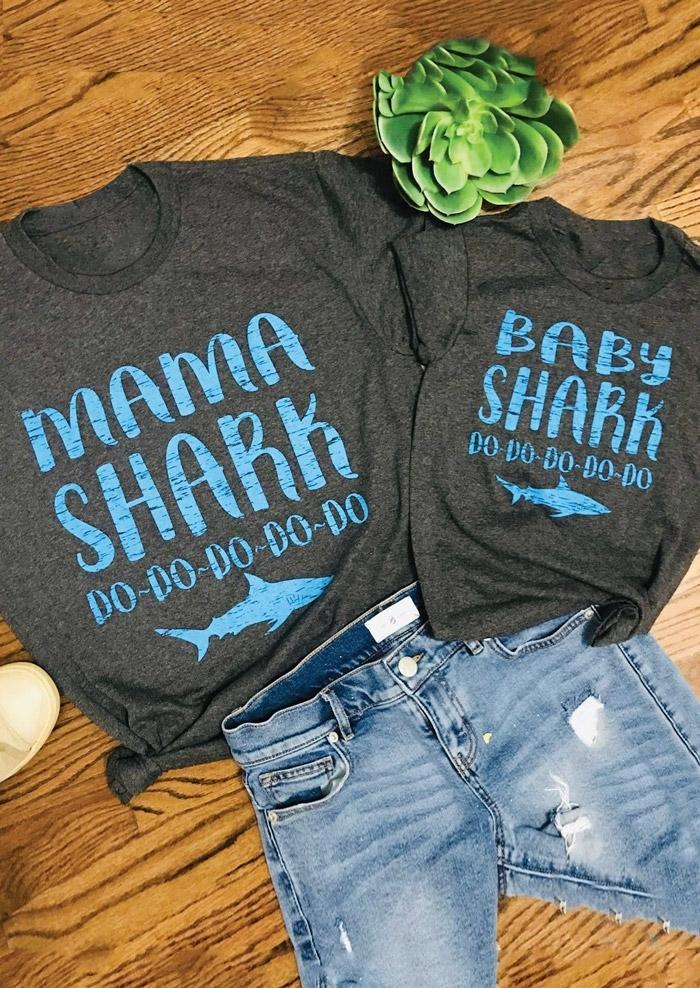 cb47081a33 Mommy   Me Mama Shark Baby Shark T-Shirt Tee - Fairyseason