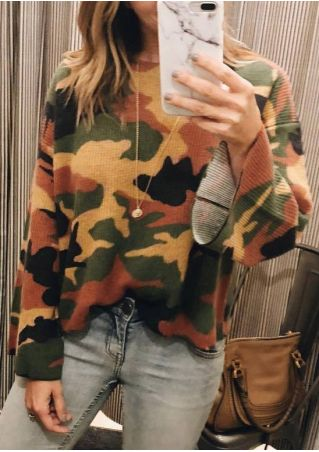 Camouflage Printed Long Sleeve Sweatshirt without Necklace