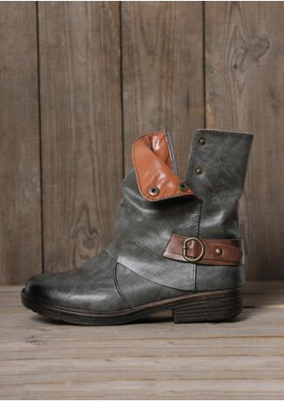 Splicing Buckle Strap Fashion Boots
