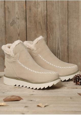 Fluffy Splicing Round Toe Snow Boots