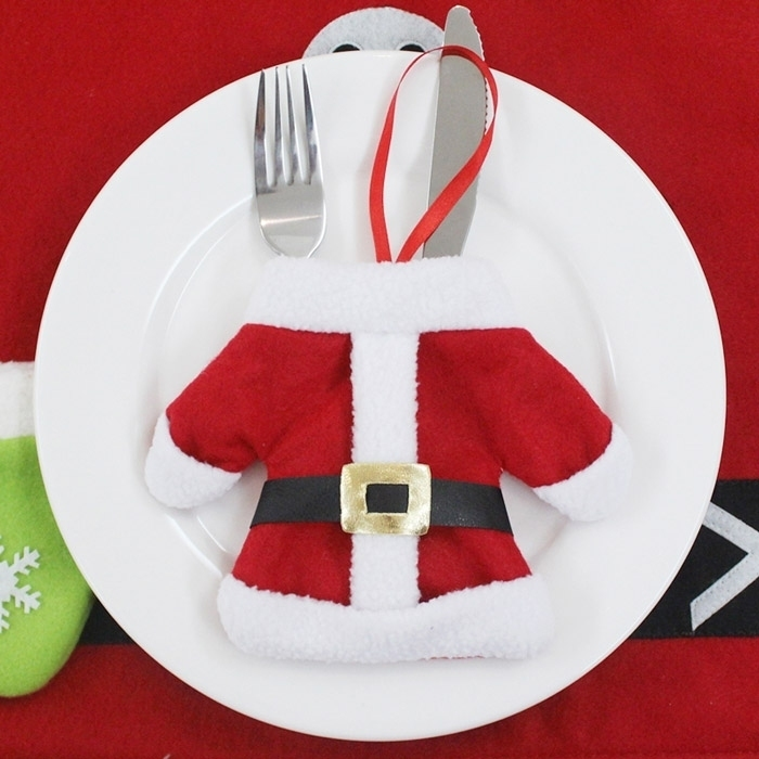 Christmas Clothes Shaped Tableware Knife Fork Bag