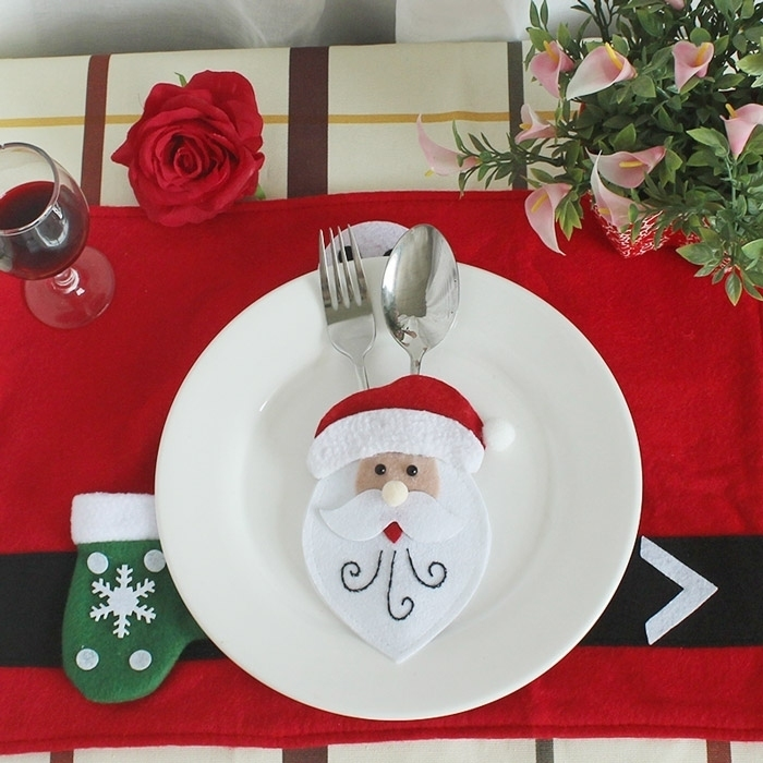 Christmas Santa Claus Tableware Knife Fork Bag