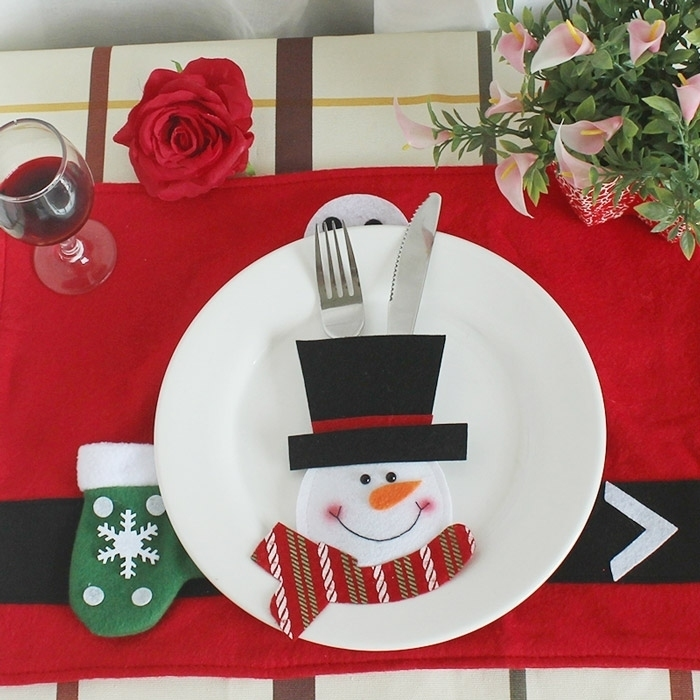 Christmas Snowman Tableware Knife Fork Bag