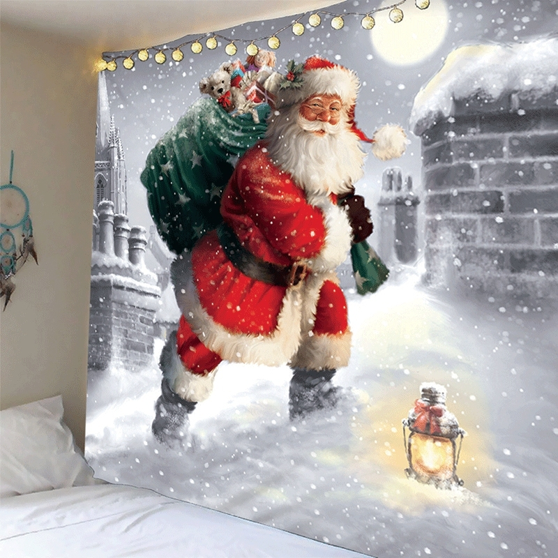 Image of Christmas Santa Snow Waterproof Wall Tapestry