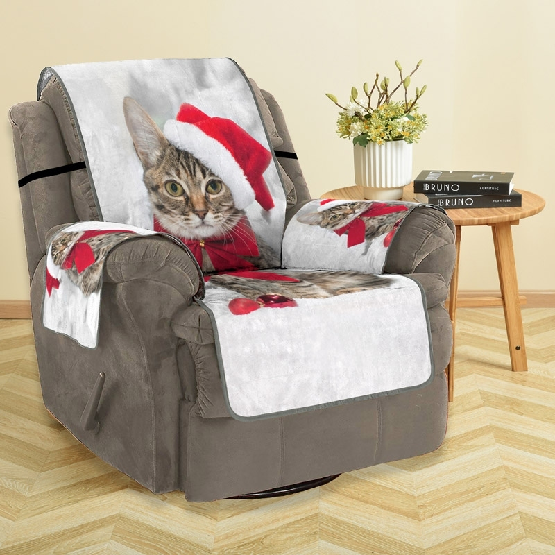 Image of Christmas Hat Cat Sofa Cover