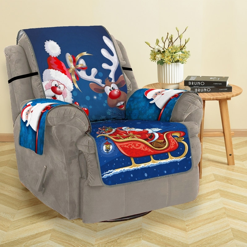 Image of Christmas Santa Claus Reindeer Sofa Cover