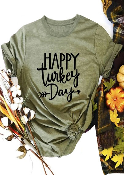 Tees T-shirts Happy Turkey Day Arrow T-Shirt in Army Green. Size: S,M,L,XL фото