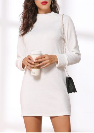 Solid O-Neck Long Sleeve Mini Dress