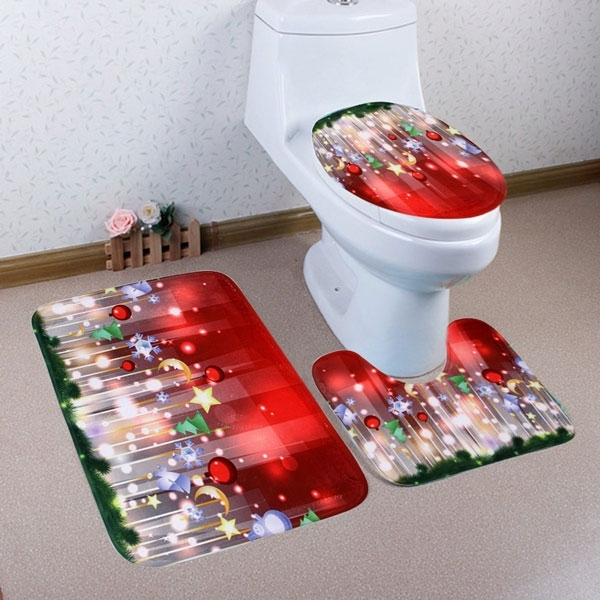 Image of 3Pcs/Set Christmas Bell Bath Toilet Mat Cover Set