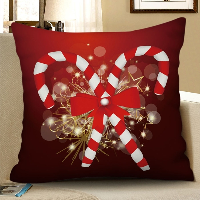 Image of Christmas Bowknot Candy Cane Decorative Pillowcase