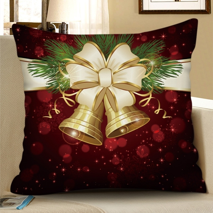 Image of Christmas Bowknot Bell Decorative Pillowcase