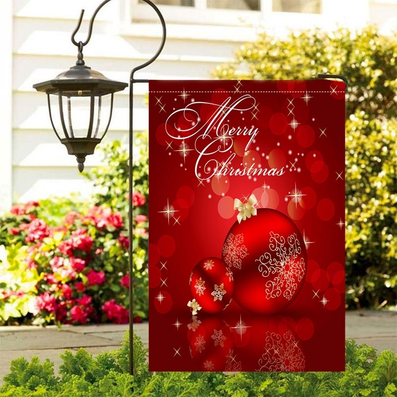 Image of Merry Christmas Ball Waterproof Outdoor Garden Flag