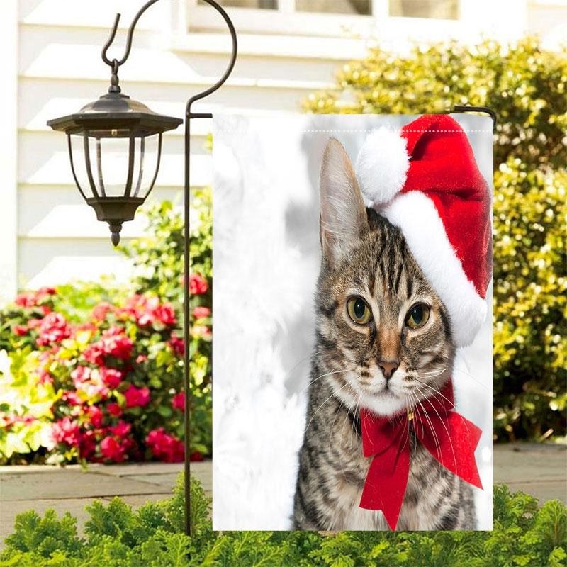 Image of Christmas Cat Waterproof Outdoor Garden Flag