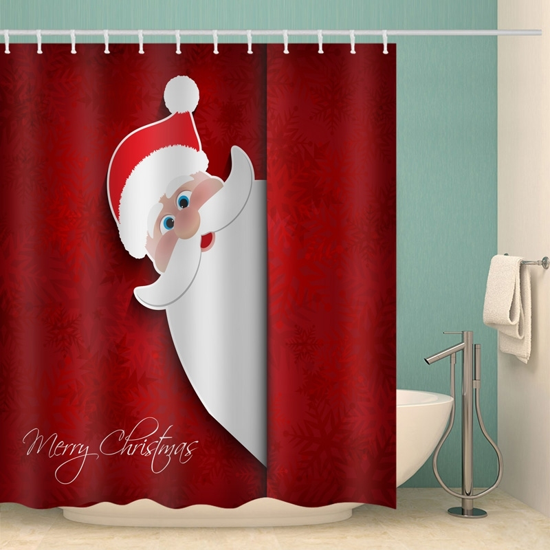 Image of Merry Christmas Santa Waterproof Bathroom Shower Curtain